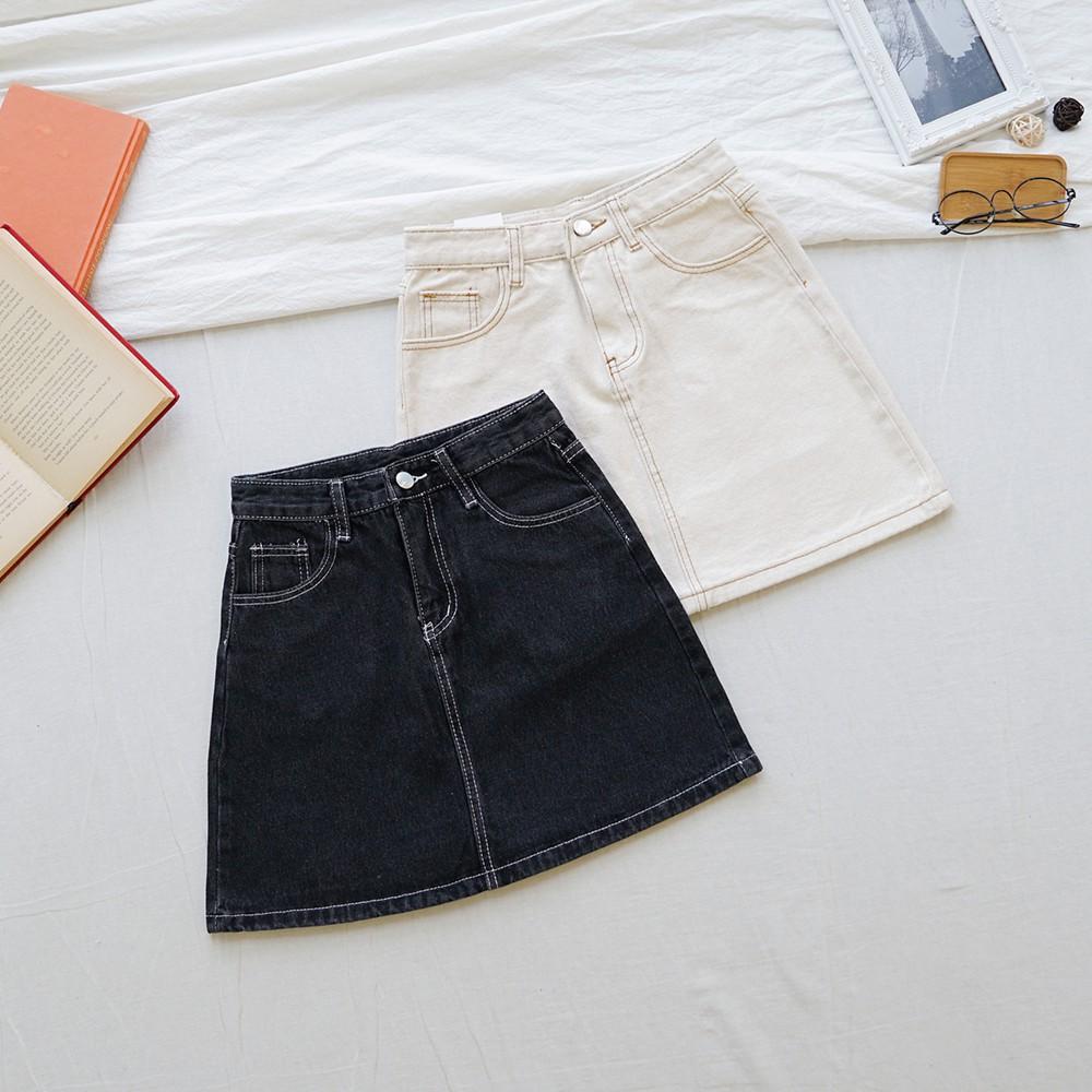 8247高腰混棉水洗A字牛仔短裙【SB12576】