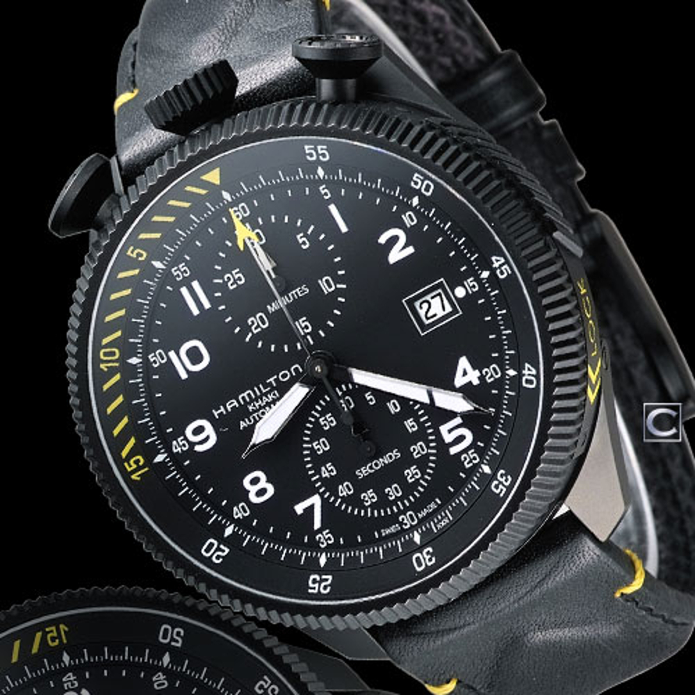 限時 滿3千賺10%點數↘ |HAMILTON 漢米爾頓  卡其黑鷹轟炸自動計時腕錶 H76786733
