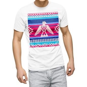 igsticker プリント Tシャツ メンズ 3XL XXXL サイズ size おしゃれ クルーネック 白 ホワイト t-shirt 011913 鳥 模様 おしゃれ