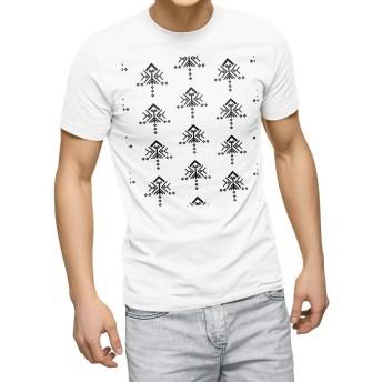igsticker プリント Tシャツ メンズ 3XL XXXL サイズ size おしゃれ クルーネック 白 ホワイト t-shirt 012759 白黒 柄 モノトーン