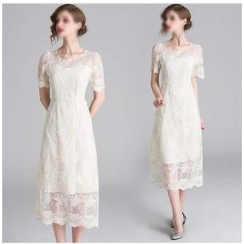刺繍入りバッドシルクガーゼステッチハイウエストスリムフックフラワーロングドレス夏 (Color : White, Size : L)