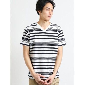 【33%OFF】 タカキュー ロープボーダーVネック半袖Tシャツ メンズ ネイビー M 【TAKA-Q】 【セール開催中】