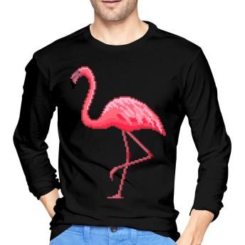 Pixel Pink Flamingo メンズ Tシャツ 長袖 綿100%,クルーネック ファッション,カジュアル 柔らかい,快適,ロングスリーブ,おしゃれ,人気 ファッション S-XXL