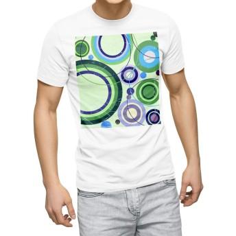 igsticker プリント Tシャツ メンズ 3XL XXXL サイズ size おしゃれ クルーネック 白 ホワイト t-shirt 004978 クール 緑 イラスト 模様
