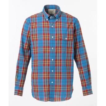 J.PRESS/ジェイプレス スーパーマドラスチェック シャツ / ボタンダウン ブルー系3 L