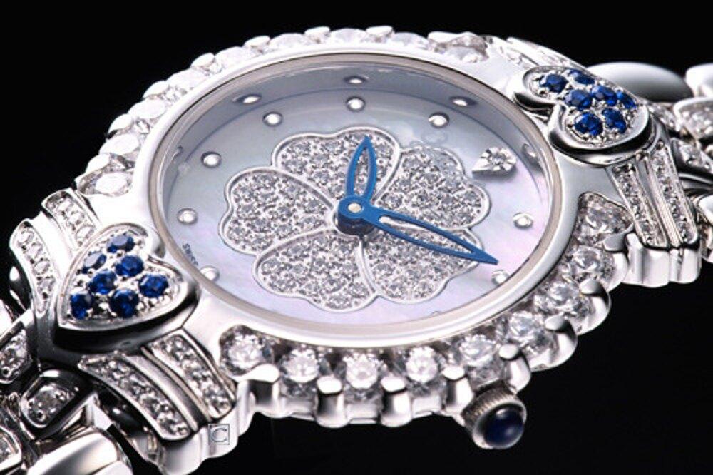 愛其華錶Ogival  山茶花 晶鑽腕錶-305-082DL_藍色