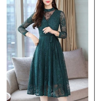 レースフレアワンピース ハイネック 結婚式 二次会 パーティー ドレス 上品 緑 グリーン 大きいサイズ 七分袖 韓国