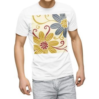igsticker プリント Tシャツ メンズ 3XL XXXL サイズ size おしゃれ クルーネック 白 ホワイト t-shirt 000674 フラワー 花 黄色