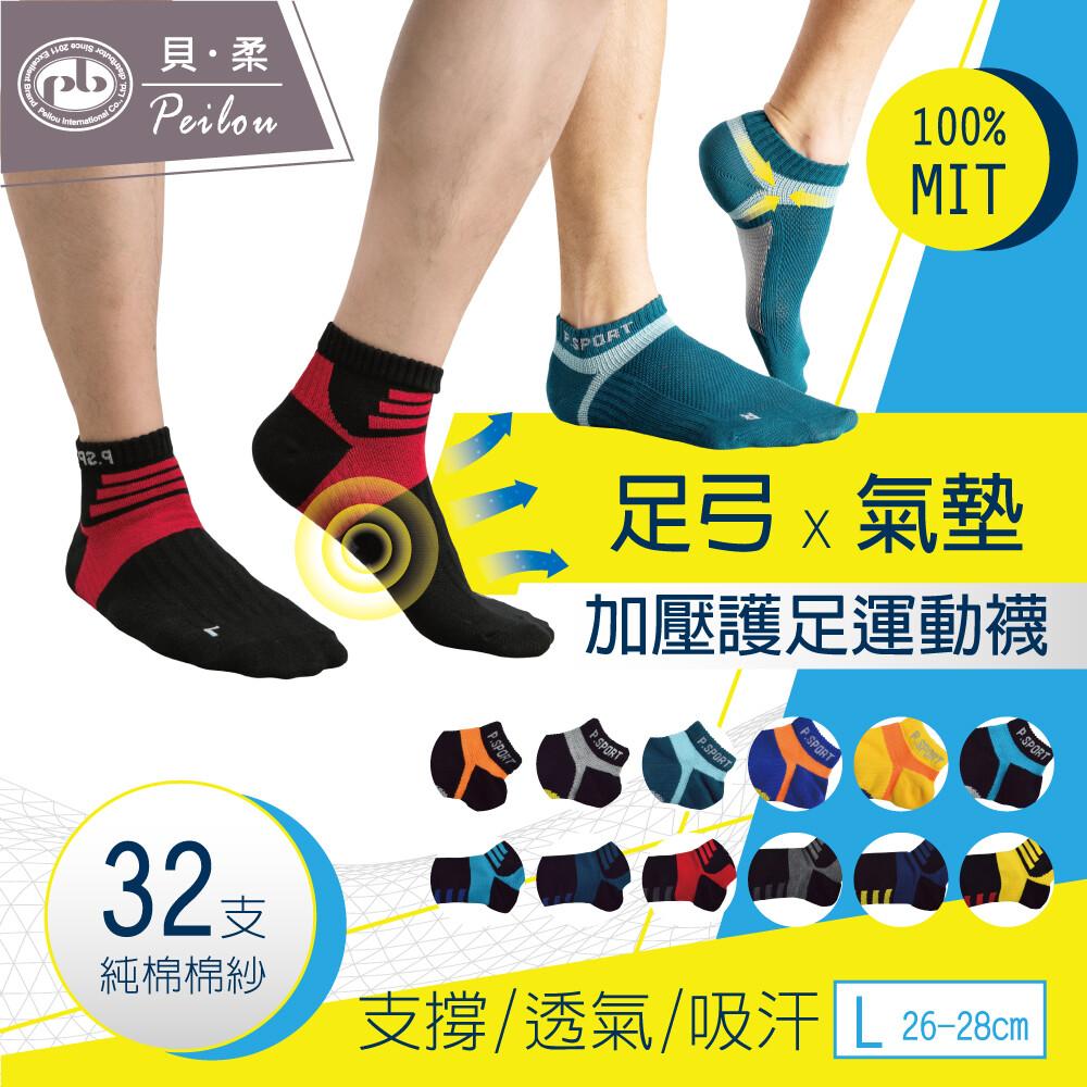 貝柔台灣製左右腳輕量護足足弓襪(船襪/短襪)(男)