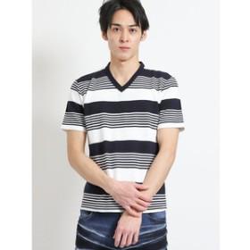 【semantic design:トップス】リップルボーダーVネック半袖Tシャツ