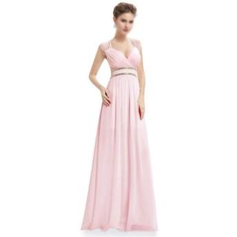 結婚式のマキシドレスの女性のVネックショルダービーズの宴会のイブニングドレス (Color : Pink, Size : US4)