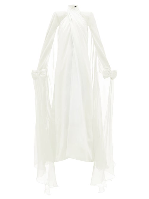 Richard Quinn - Bow-embellished Silk-georgette Gown - Womens - Ivory