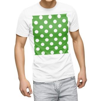 igsticker プリント Tシャツ メンズ 3XL XXXL サイズ size おしゃれ クルーネック 白 ホワイト t-shirt 009087 その他 シンプル 水玉 ドット 緑