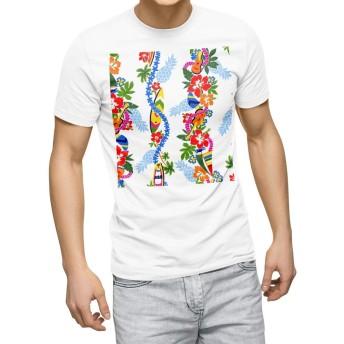 igsticker プリント Tシャツ メンズ 3XL XXXL サイズ size おしゃれ クルーネック 白 ホワイト t-shirt 006871 フラワー 花 フラワー ハワイ