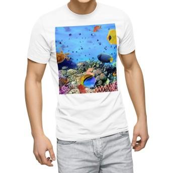 igsticker プリント Tシャツ メンズ 3XL XXXL サイズ size おしゃれ クルーネック 白 ホワイト t-shirt 002823 写真・風景 海 写真 カラフル