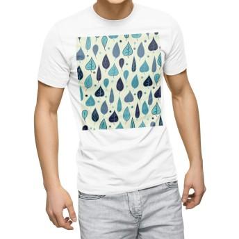 igsticker プリント Tシャツ メンズ 3XL XXXL サイズ size おしゃれ クルーネック 白 ホワイト t-shirt 006997 木目 葉っぱ 模様 植物