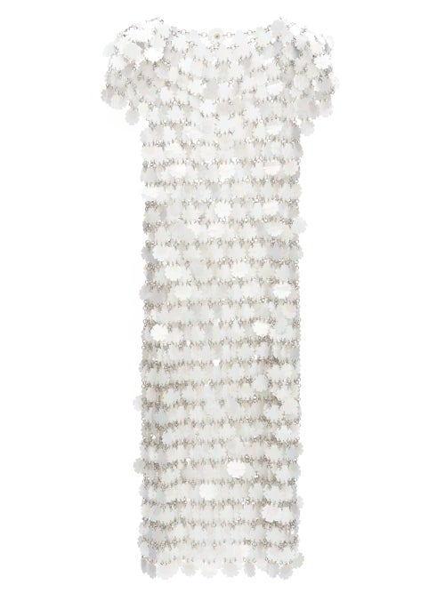 Paco Rabanne - Sequinned Chainmail Dress - Womens - White