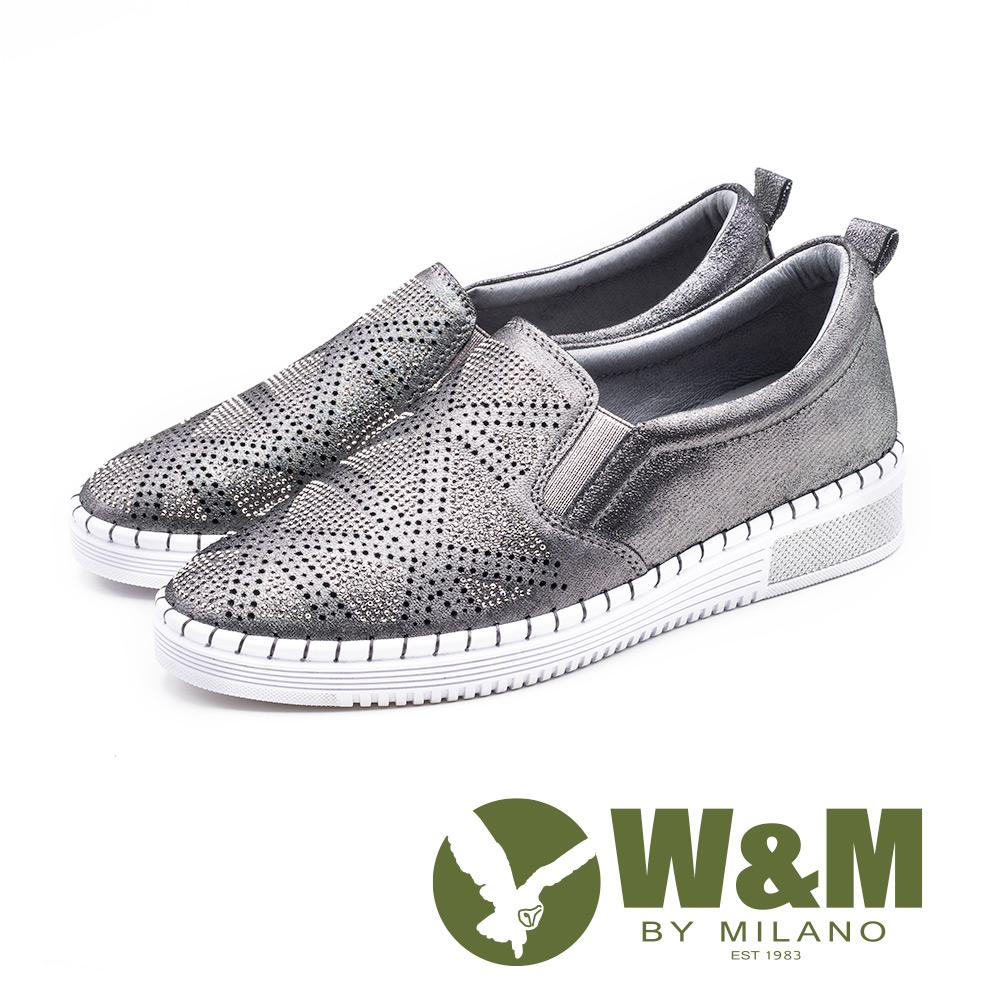 W&M 亮鑽厚底樂福鞋 女鞋 - 鐵灰 (另有 黑 )