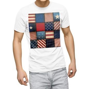 igsticker プリント Tシャツ メンズ 3XL XXXL サイズ size おしゃれ クルーネック 白 ホワイト t-shirt 010172 星 ボーダー 赤 青