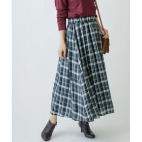 【MERVEILLE H.:スカート】キュプラカルゼチェックギャザーロングスカート