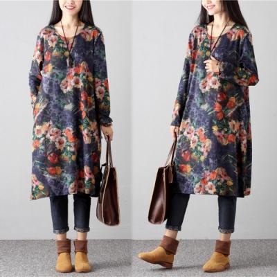 【韓國K.W.】印花中國風優雅氣質洋裝-1色