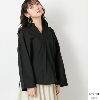 (Rejoule/リジュール)2020新作 コットンポプリン サイド開きワイド袖スキッパーチュニックシャツ/レディース ブラック