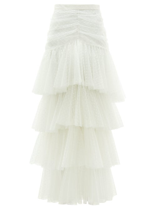 Rodarte - Tiered Polka-dot Tulle Skirt - Womens - White