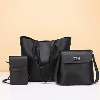 ハンドバッグ 1つのカジュアルPUショルダーバッグレディースハンドバッグメッセンジャーバッグでHYF 3 (色 : Black)