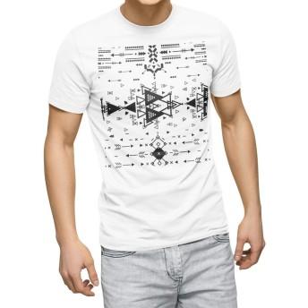 igsticker プリント Tシャツ メンズ 3XL XXXL サイズ size おしゃれ クルーネック 白 ホワイト t-shirt 012416 矢 三角 モノトーン