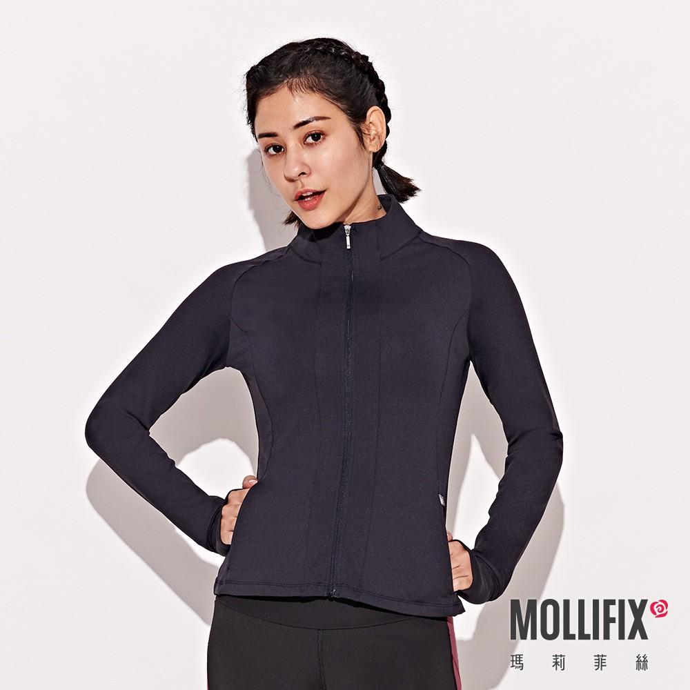 Mollifix 瑪莉菲絲 腰線拼接修身運動外套 (黑)