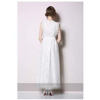 ファッショナブルな白いレースのドレス女性の夏のドレス (Color : White, Size : L)