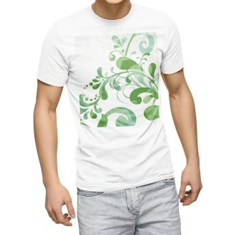 igsticker プリント Tシャツ メンズ 3XL XXXL サイズ size おしゃれ クルーネック 白 ホワイト t-shirt 001340 フラワー 草木