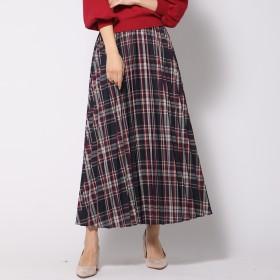 QUEENS COURT(クイーンズコート)/カラーチェックロングプリーツスカート