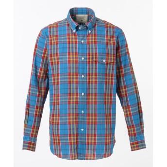(J.PRESS MENS/ジェイ プレス メンズ)スーパーマドラスチェック シャツ / ボタンダウン/メンズ ブルー系3
