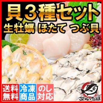 送料無料 貝3種セット 生牡蠣 1kg ホタテ 1kg つぶ貝開き 500g お刺身用 生食用 むき身 かき カキ 牡蛎 牡蠣 ほたて 帆立 ツブ貝 冷凍 業