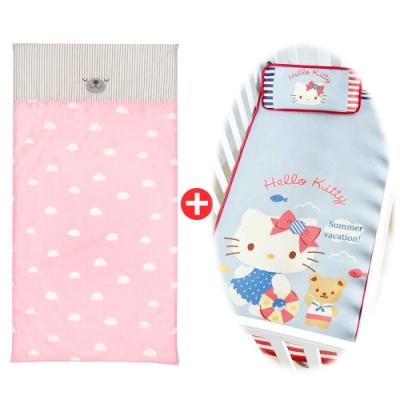 【les enphants】麗嬰房 雲朵熊防螨乳膠床墊+冰絲涼蓆/枕特惠組(任選)