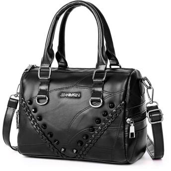 ショルダーバッグ HYFファッション旅行PUレザーリベットシングルショルダークロスボディバッグバッグ (色 : Black, Size : OneSize)