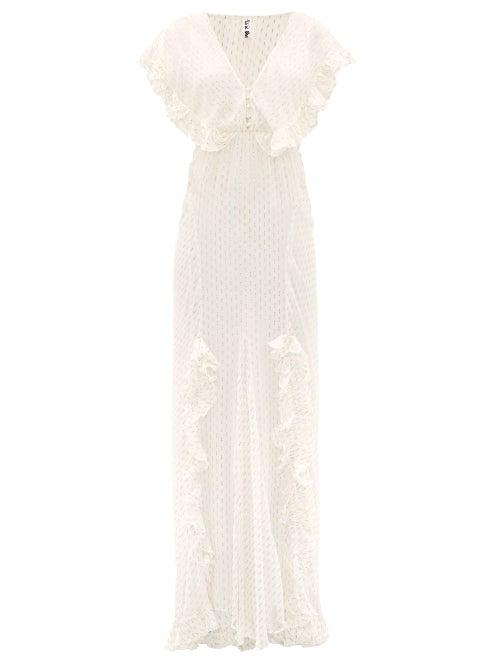 Rat & Boa - Ruffled Metallic Fil Coupé Maxi Dress - Womens - Ivory