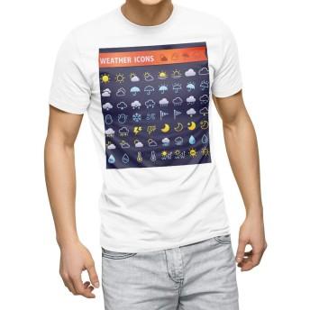 igsticker プリント Tシャツ メンズ 3XL XXXL サイズ size おしゃれ クルーネック 白 ホワイト t-shirt 016463 天気 ロゴ マーク