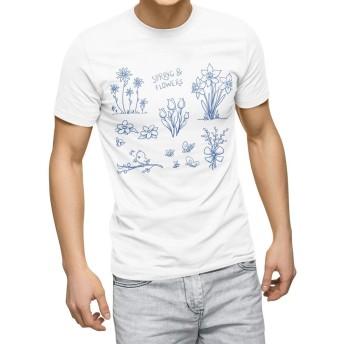 igsticker プリント Tシャツ メンズ 3XL XXXL サイズ size おしゃれ クルーネック 白 ホワイト t-shirt 009726 フラワー 英語 青