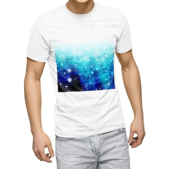igsticker プリント Tシャツ メンズ 3XL XXXL サイズ size おしゃれ クルーネック 白 ホワイト t-shirt 006856 ラグジュアリー 音符 楽譜
