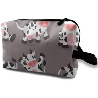 かわいい漫画の牛 化粧バッグ 収納袋 女大容量 化粧品クラッチバッグ 収納 軽量 ウィンドジップ