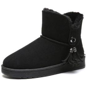 女性の平底学生の綿の靴、冬の暖かいとベルベットの雪のブーツ、野生のタッセルショートブーツ、ラウンドヘッドノンスリップ摩耗ハイキングブーツ (Color : Black, Size : 37)