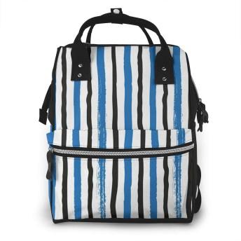 マザーズバッグ リュック 縞模様絵筆バンド ママバッグ ポケット 軽量 大容量 多機能 オムツ替えシート付き 用品収納 通勤 旅行 出産準備