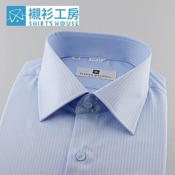 皮爾帕門pb藍色素面緹花、F2版型後片無背摺較寬鬆舒適長袖襯衫65163-02 -襯衫工房