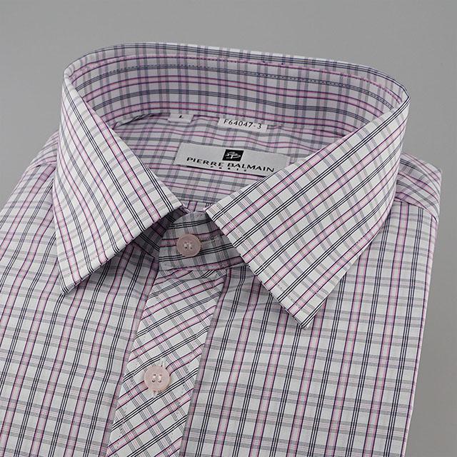 皮爾帕門pb紅色格紋、門襟斜格設計齊支可外穿短袖襯衫64047-03 -襯衫工房