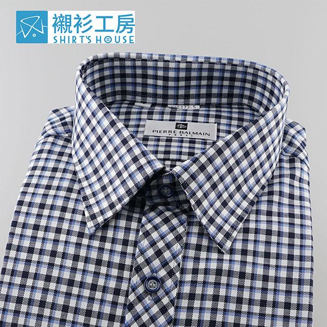皮爾帕門p黑藍條相間細格、門襟做斜紋設計、齊支可外穿當襯衫外套65172-05b -襯衫工房