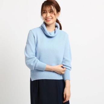 リフレクト Reflect 【WEB限定カラーあり】パフ袖オフタートルニット (ブルー)