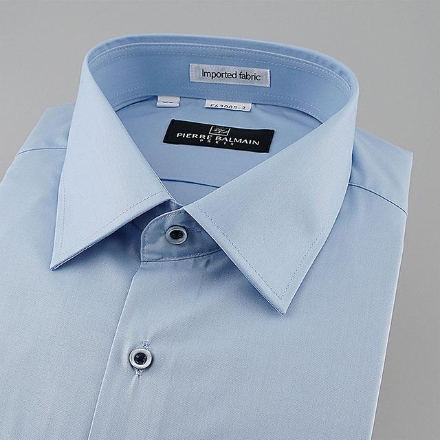 皮爾帕門pb藍色素面進口素材專業人士合身短袖襯衫63005-02 -襯衫工房