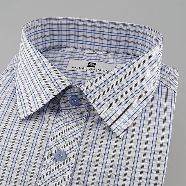 皮爾帕門pb藍色格紋、門襟斜格設計齊支可外穿短袖襯衫64047-02 -襯衫工房